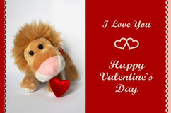 Valentine Lion Toy Image stock