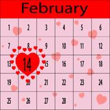 Valentine with little hearts. Schedule for February with 14 in heart Stock Image