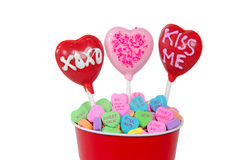 Valentine lollipops with candy hearts Royalty Free Stock Images
