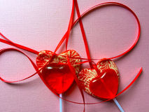 Valentine lollipops with ribbons Stock Image
