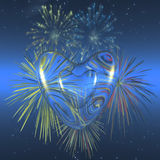 Valentine love,. Valentine heart love, firework background, . 3D illustration. Holiday, Love, romance, wedding represented in a colorful render Stock Image