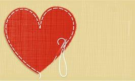 Valentine love background with handcraft heart. Valentine needlework background with very nice heart Stock Photo