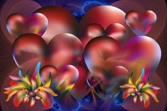 Valentine and love background. Lots of hearts and colorful plants on a blue-red fractal background for different type of supports royalty free illustration