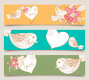 Valentine love birds and blossom banner set. Lovely bird and spring flowers banners set background. Vector illustration layered for easy manipulation and custom Stock Images