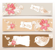 Valentine love birds and blossom banners. Valentine day love birds and spring flowers banners set background. Vector illustration layered for easy manipulation Royalty Free Stock Photography