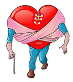 Valentine - love is blind. Illustration of blind love icon walking, for valentine Royalty Free Stock Images