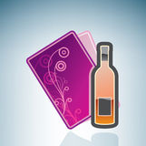 Valentine/Love Card & Bottle of Wine Royalty Free Stock Images
