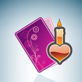 Valentine/Love Card with a Candle Stock Photography