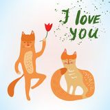 Valentine love card with funny cats Stock Photos