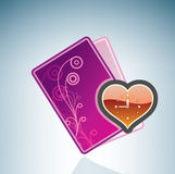 Valentine/Love Card & Heart Clock Stock Images