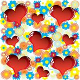 Valentine love card with heart of flowers Stock Photo
