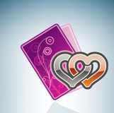 Valentine/Love Card & Two Hearts Royalty Free Stock Image