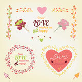 Valentine love card 02 A. Vector romantic collection with lovely typography. Hand drawn floral elements. Example of a cute and romantic style in pastel tones Royalty Free Stock Photos