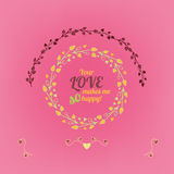 Valentine love card 01 A. Vector romantic card with lovely typography. Hand drawn floral elements. Example of a cute and romantic style in pastel tones. Saint Royalty Free Stock Photography