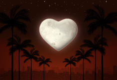 Valentine love city at Night. City holiday backgroud with heart shape moon at night Stock Images