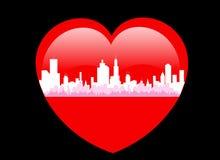 Valentine Love City - Vector Royalty-vrije Stock Afbeeldingen