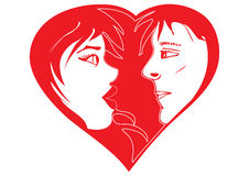 Valentine in-love couple. Vector Illustration of in-love couple. Two colors, red and white. Can be used for Valentine Day card or concepts Stock Photography