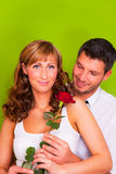 Valentine love couple with rose Stock Image