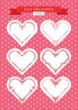 Valentine love decorative frames set. Red valentine hearts decorative frames set. shape of a heart. Element for design.. Vector illustration Royalty Free Stock Images