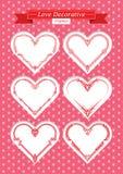 Valentine love decorative frames set. Red valentine hearts decorative frames set. shape of a heart. Element for design.. Vector illustration Stock Image