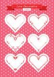 Valentine love decorative frames set. Red valentine hearts decorative frames set. shape of a heart. Element for design.. Vector illustration Stock Photos