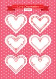 Valentine love decorative frames set. Red valentine hearts decorative frames set. shape of a heart. Element for design.. Vector illustration Royalty Free Stock Photos