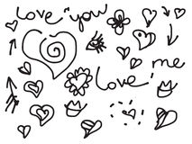 Valentine love doodle set with text Royalty Free Stock Photography