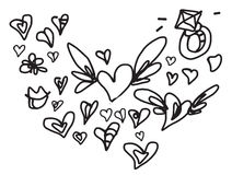 Valentine love doodle set with wings. Valentine love doodle set with ring and wings available in  vector format Stock Photos
