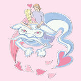 Valentine love dragon. Valentine's Day card with lovers riding a blue dragon, hand drawn illustration over a pink background with flying hearts Royalty Free Stock Photos