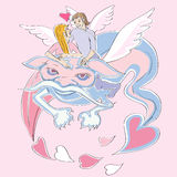 Valentine love dragon. Valentine's Day card with lovers riding a blue dragon, hand drawn illustration over a pink background with flying hearts Stock Images