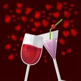 Valentine Love Glass Celebrate Happy vektor Arkivbild