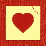 Valentine love heart with bunting on red background Royalty Free Stock Photo