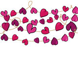 Valentine love heart flowers hanging. Valentine day love heart flowers hanging over white background. Vector illustration layered for easy manipulation and Royalty Free Stock Image