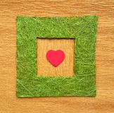 Valentine love heart inside green frame borde Royalty Free Stock Photos