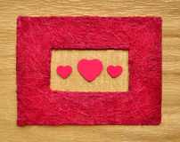 Valentine love heart inside red color frame border Royalty Free Stock Photos