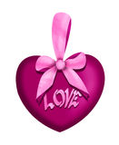 Valentine love heart with pink bow Stock Images