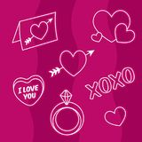 Valentine love icons, hearts, engagement ring, love letter Stock Photo