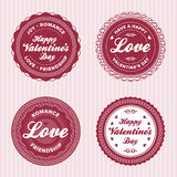 Valentine love labels. Set of vintage valentine's day love badges and labels Royalty Free Stock Photos