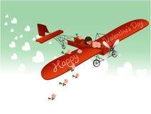 Valentine love plane Royalty Free Stock Image