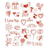 Valentine love sketches on white background. Red sketches and doodles with symbols and drawings on white background, for Valentine`s Day Stock Photography