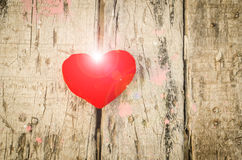 Valentine love symbol on a wooden Stock Photography