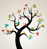 Valentine love tree leaf from hearts. Royalty Free Stock Images