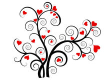 Valentine love tree with red hearts Royalty Free Stock Images