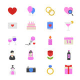 Valentine and Love Wedding Flat Color Icons Stock Image