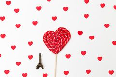 valentine Lucette douce sous forme de coeur et Tour Eiffel Photo libre de droits