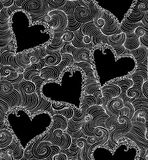 Valentine luxury vector seamless pattern with hearts and curling lines. Endless decorative texture. You can use any color of background Stock Photos