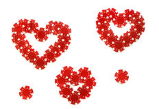 Valentine made of poker chips. Creative chips; hearts  made of poker chips isolated over white Stock Photography