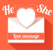 Valentine mail message with heart. He and she Stock Photo