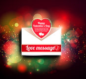 Valentine mail message with heart. And bokeh background Royalty Free Stock Photography