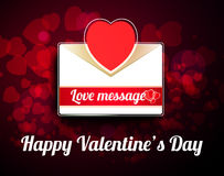 Valentine mail message with heart. And bokeh background Stock Photos